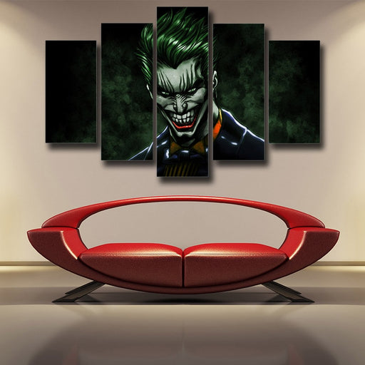 The Mad Evil Face Of Joker Design 5pcs Wall Art Canvas Print
