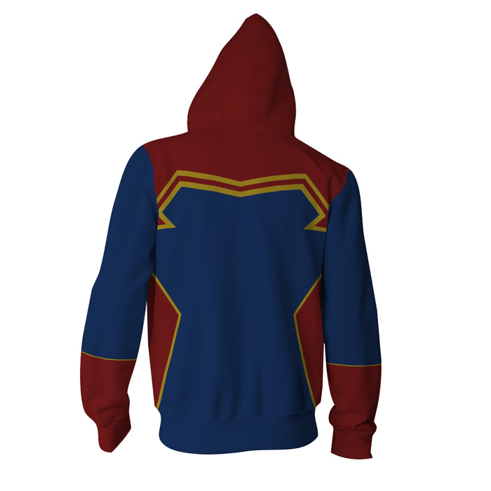 The Mightiest Avenger Captain Marvel Red Blue Zip Up Hoodie