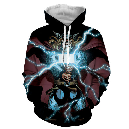 Thor Avengers Marvel Cartoon Comic Light Mjolnir Hoodie
