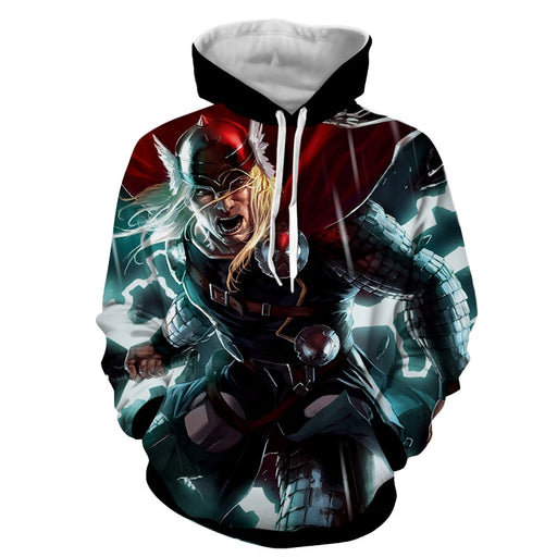 Thor Avengers Super Angry Comic Style With Mjolnir Hoodie