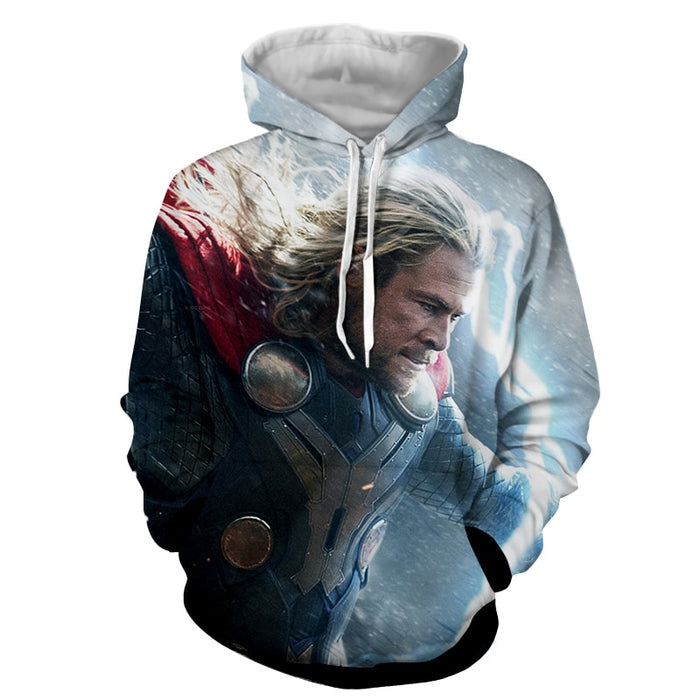 Thor Marvel Angry Fighting Mjolnir Lighting Portrait Hoodie