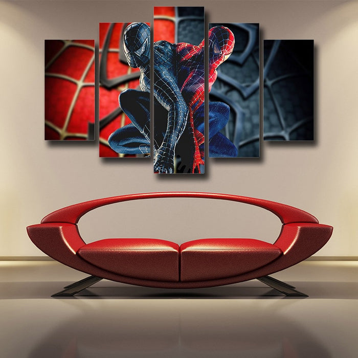 Two Back To Back Spider-Man 5pcs Wall Art Canvas Print
