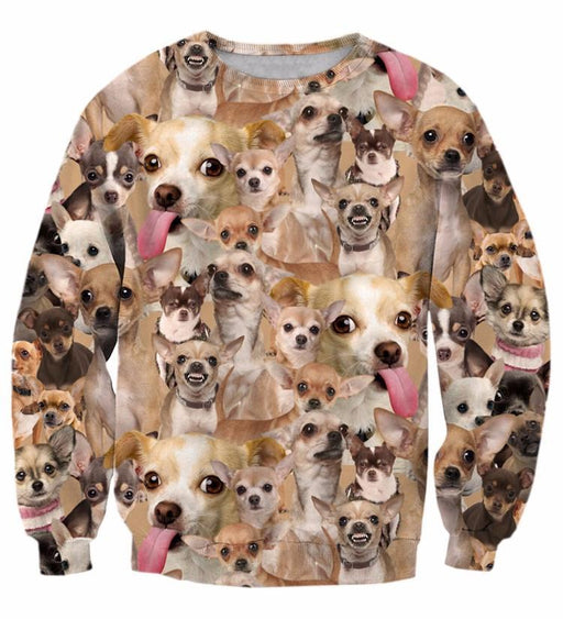 Ugly Angry Chihuahua Mania Cute Dog Pet Full Print Sweatshirt - Woof Apparel