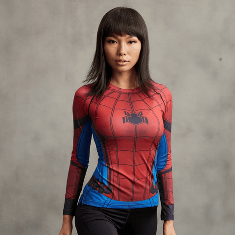 Spiderman Costume 3D Printed Compression Raglan Long Sleeves Woman T-shirt