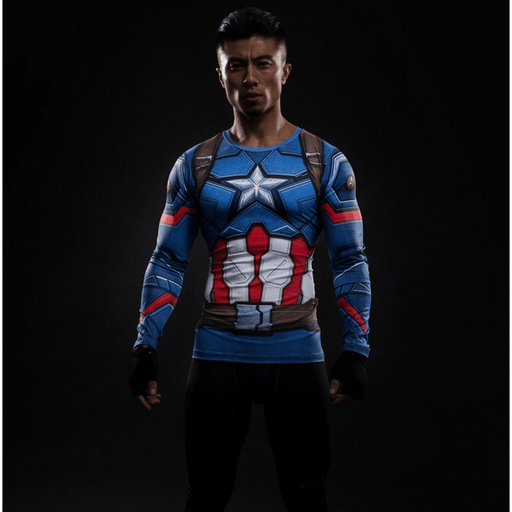 Captain America Civil War Long Sleeves Compression Training T-shirt - Superheroes Gears