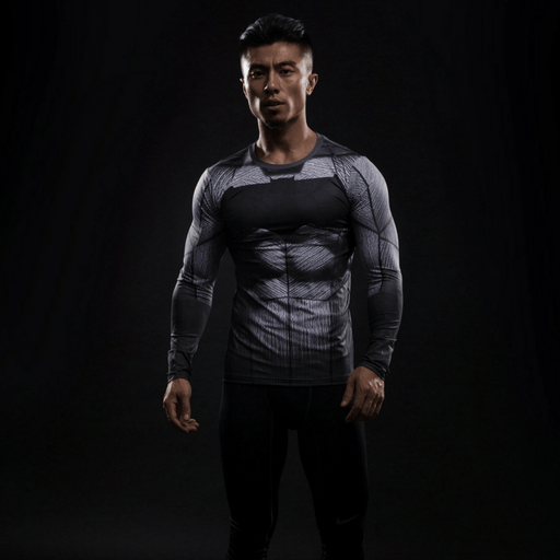Batman Inspired Compression Long Sleeves Slim Fit T-shirt - Superheroes Gears