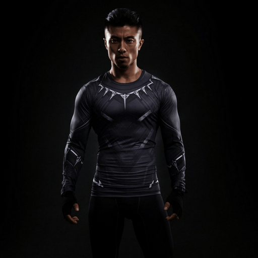 Black Panther Civil War Long Sleeves Athletic Compression T-shirt - Superheroes Gears