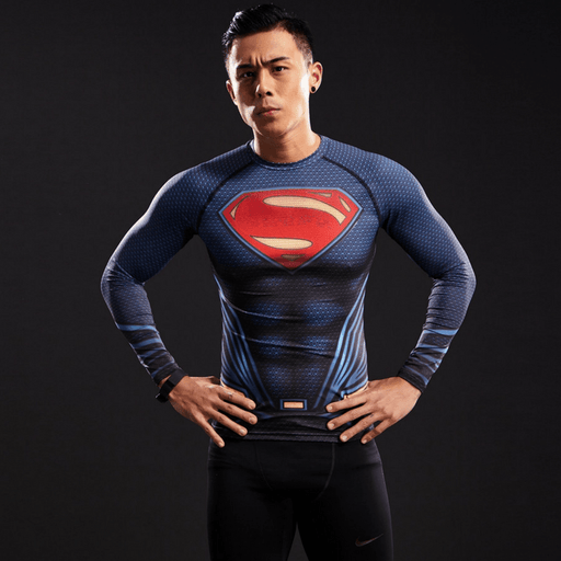 Superman Inspired 3D Printed Compression Long Sleeves Fitness T-shirt