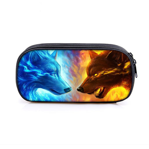 Upright Ice Wolf vs Bad Fire Wolf Face to Face Pencil Case