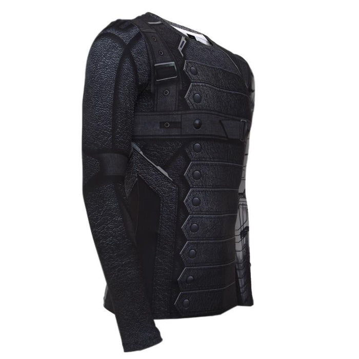 Winter Soldier 3D Printed Compression Long Sleeves Workout T-shirt