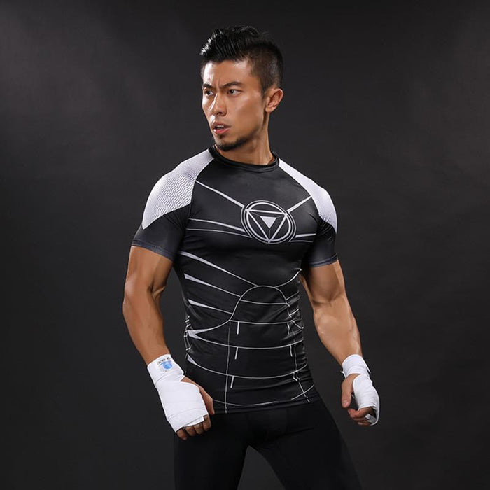 War Machine Black White Edition Compression Short Sleeves Workout T-shirt