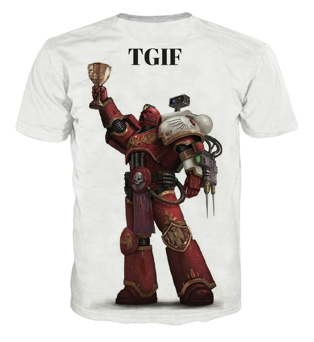 Warhammer Space Marine TGIF Victory White Cool T-shirt