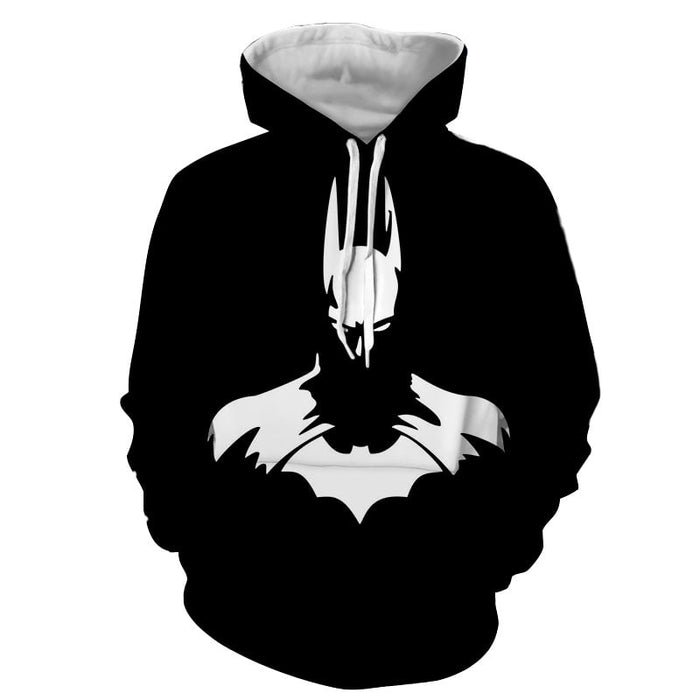 White Batman Superhero Thug Print On Black Hoodie