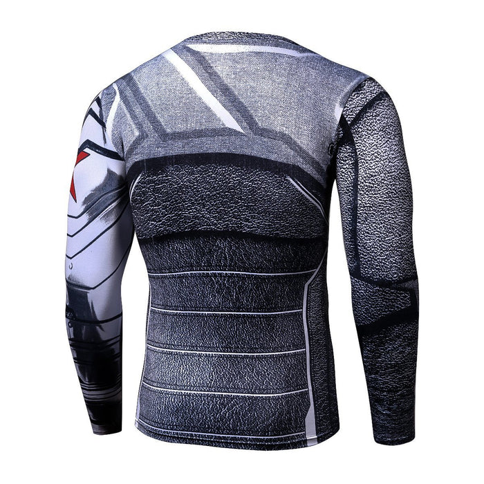 Winter Soldier Long Sleeves 3D Print Cool Compression T-shirt
