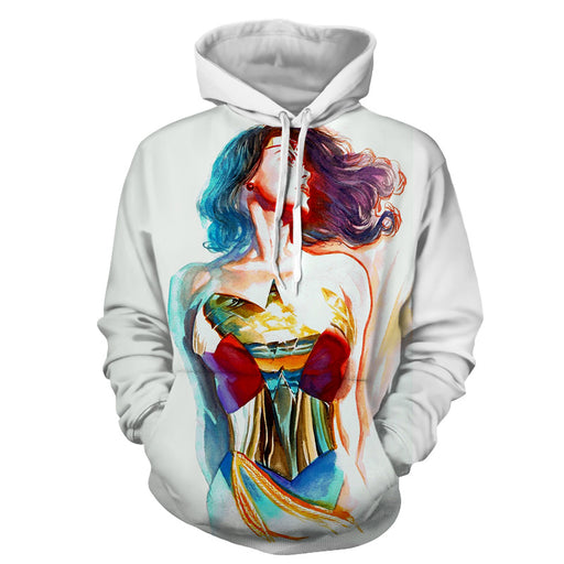 Wonder Woman Crayon Drawing Art Design White Cool Hoodie