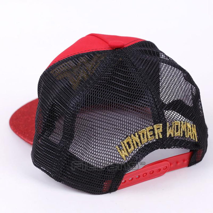 Wonder Woman Golden Symbol Sparkling All Red Snapback Hat