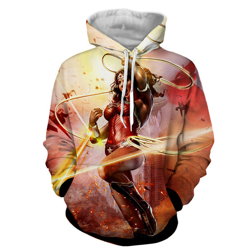 Wonder Woman Superhero Warner Bros Fighting Cool Hoodie