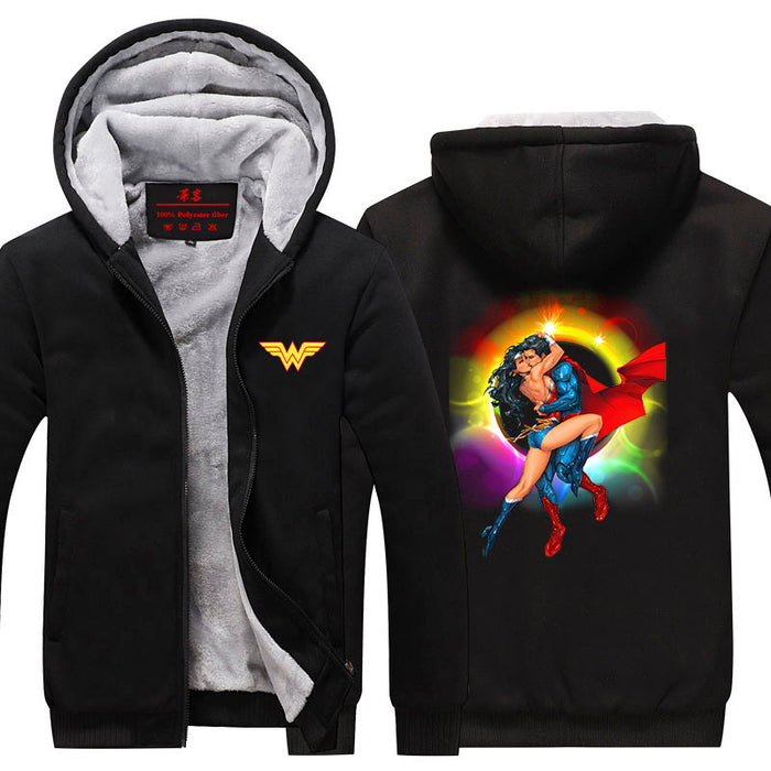 Wonder Woman Superman Love Hot Kiss Rainbow Hooded Jacket