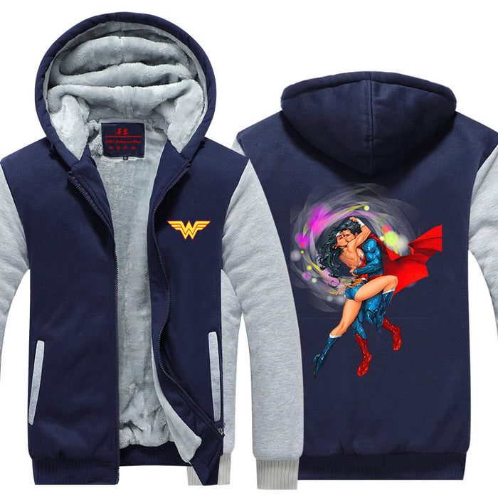 Wonder Woman Superman Love Hot Kiss Scene Hooded Jacket