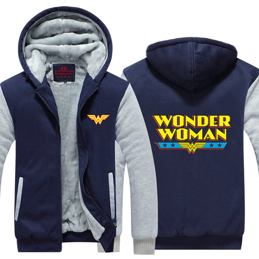 Wonder Woman Yellow Painting Letters Logo Hooded Jacket