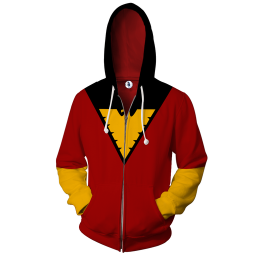 X-Men Dark Phoenix Superhero Red Suit Uniform Zip Up Hoodie