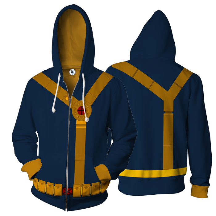 X-Men Scott Summers Cyclops Dope Blue Suit Zip Up Hoodie