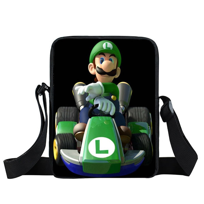 Super Mario Kart Racing Luigi Driving Black Cross Body Bag