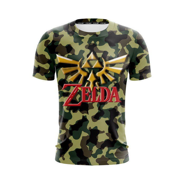 The Legend Of Zelda Gold Logo Camouflage Style Dope T-Shirt