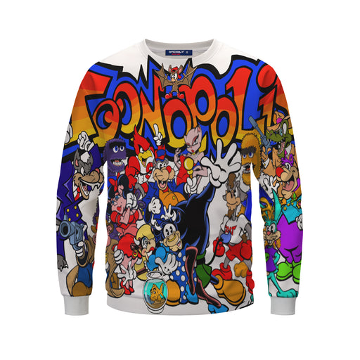 Awesome Toonopolis Characters Stylish White Sweatshirt