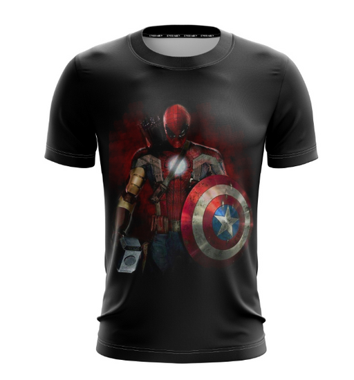 Combined Spiderman Iron Man Captain America Thor Hawkeye T-Shirt