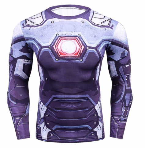 Iron Man War Machine 3D Printed Compression Long Sleeves Gym T-shirt