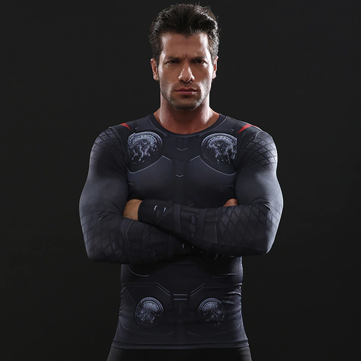 Marvel Thor Cosplay Long Sleeve Fitness Compression T-Shirt
