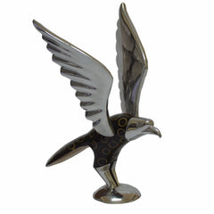 Eagle Figurine Handcrafted in Recycled Aluminum with Natural Inserts