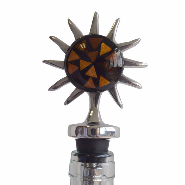 Sun Mosaic Wine Stopper Handcrafted in Recycled Aluminum and Natural Inserts