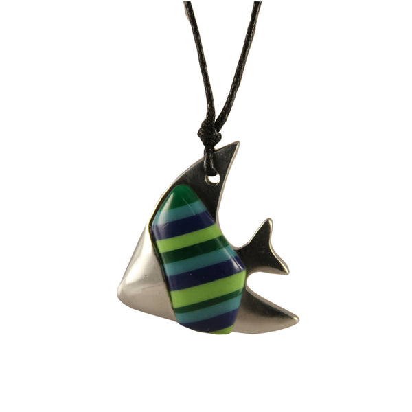 Angel Fish Necklace Handcrafted in Recycled Aluminum and Inserts (Assorted)