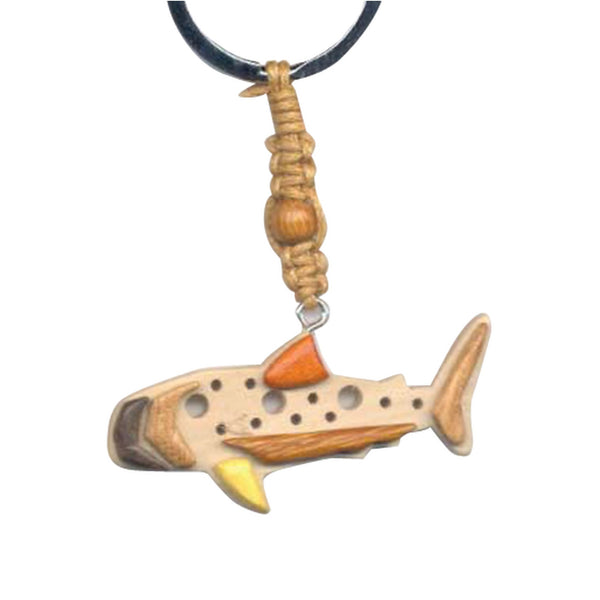 Blue Whale Key Chain Handcrafted in Wood with Inserts