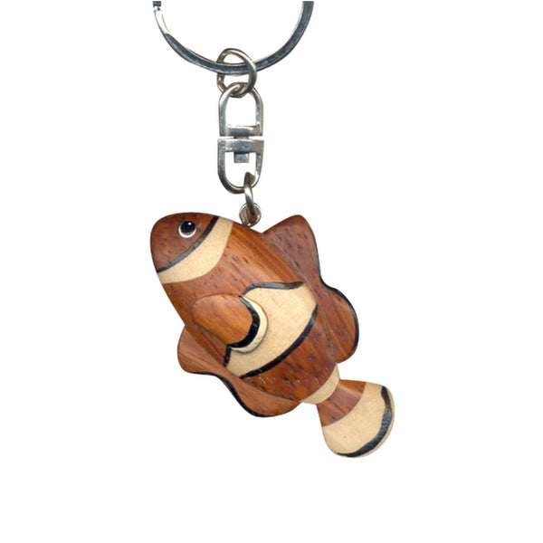 Clown Fish Key Chain Handcrafted in Wood
