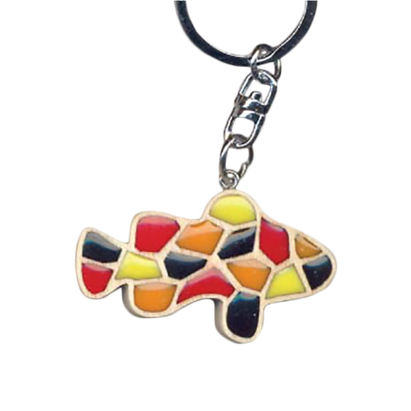 Clown Fish Key Chain Handcrafted in Wood with Color Resin Inserts