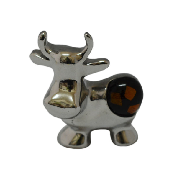 Cow Mini Figurine Handcrafted in Recycled Aluminum and Natural Inserts