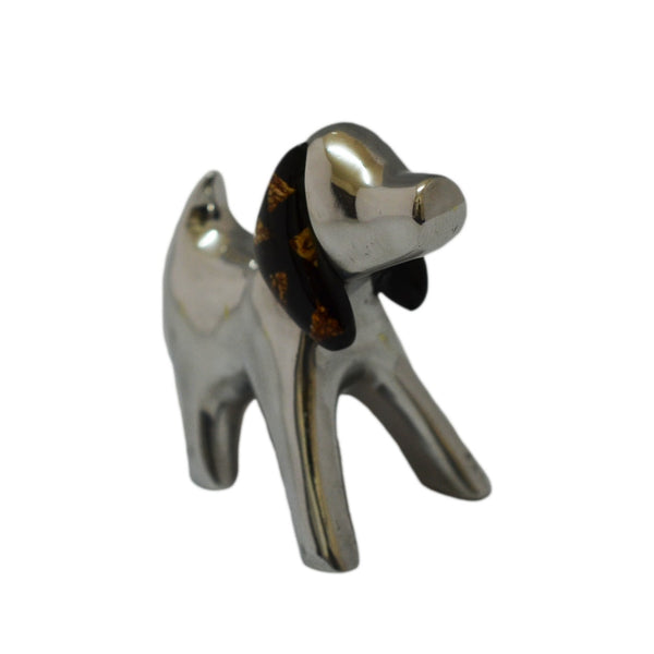 Dog Mini Figurine Handcrafted in Recycled Aluminum and Natural Inserts