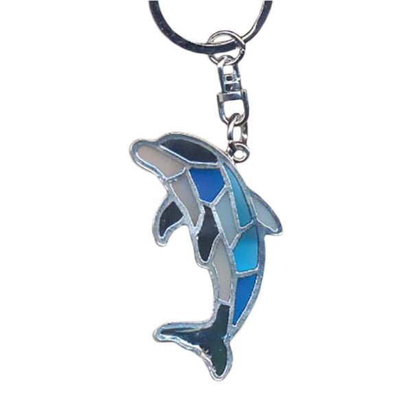 Dolphin Key Chain Handcrafted in Translucent Resin and Zinc Allow