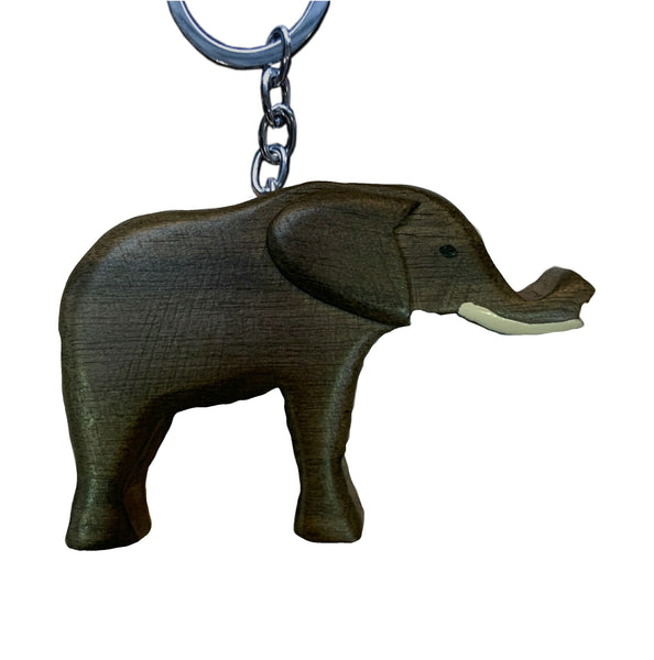 Elephant Key Chain Handcrafted in Wood - Realistic
