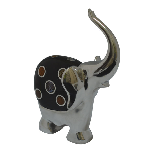 Elephant Figurine Handcrafted in Recycled Aluminum with Natural Inserts
