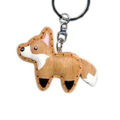 Fox Key Chain Handcrafted in Wood - Patchwork