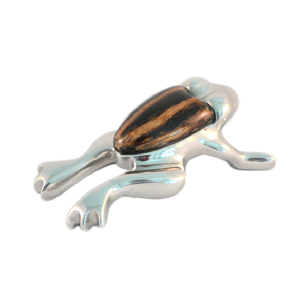Frog Mini Figurine Handcrafted in Recycled Aluminum and Natural Inserts