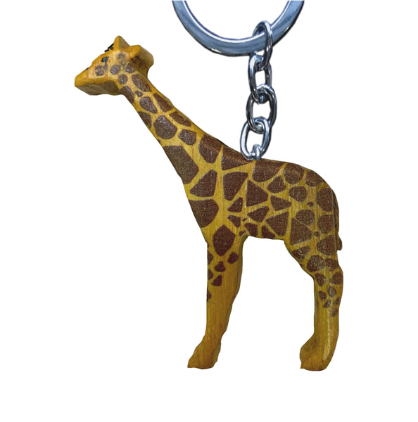 Giraffe Key Chain Handcrafted in Wood - Realistic