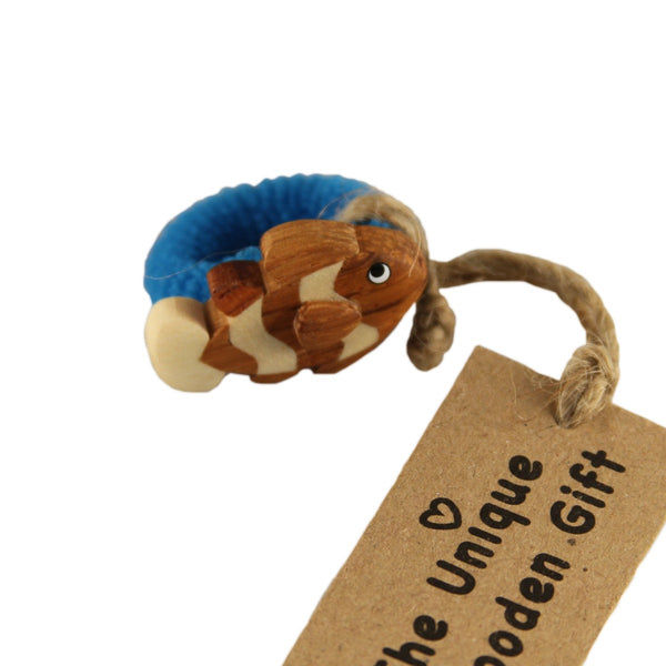 Hair Accessory Pony with Assorted Fish Designs Handcrafted in Wood