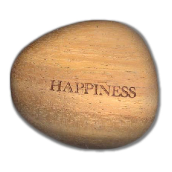 Happiness - Inspirational Wood Stone