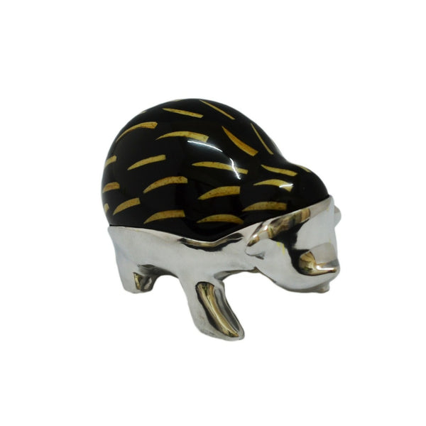 Hedge Hog Mini Figurine Handcrafted in Recycled Aluminum and Natural Inserts