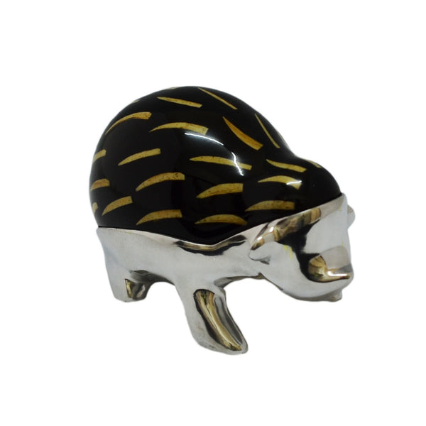 Hedge Hog Figurine Handcrafted in Recycled Aluminum and Natural Inserts